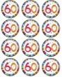 """12 x 1.5""""/38mm 60th Birthday edible rice paper fairy / cup cake toppers pre cut decorations"""