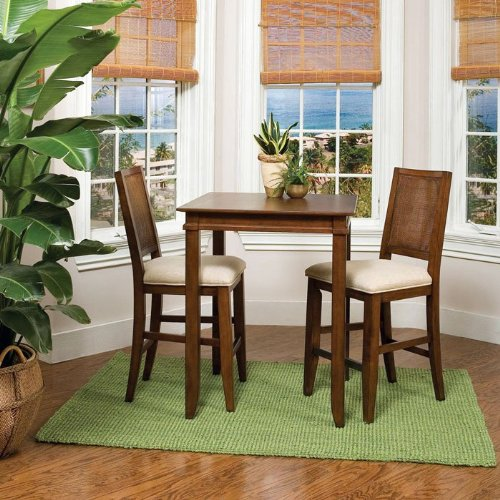 Jamaican Bay Square Bistro Table with 2 Stools - Mahagony