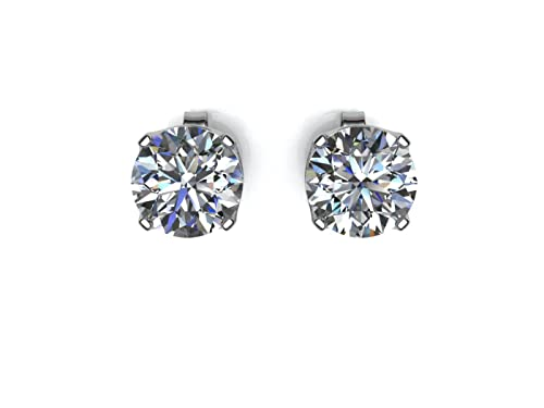 Precious Jewels UK - DIAMOND Stud Solitaire Earrings 0.33ct 9ct White Gold. Certificate By GIE