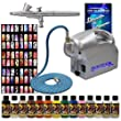"Master Pro Nail Art Precision Dual Action Airbrush Set with Master Airbrush Model TC-16 Air Compressor, Stencils, and 12 Paints, 6 Foot Braided Air Hose with 1/8"" Fittings, and (FREE) How To Airbrush Guide"