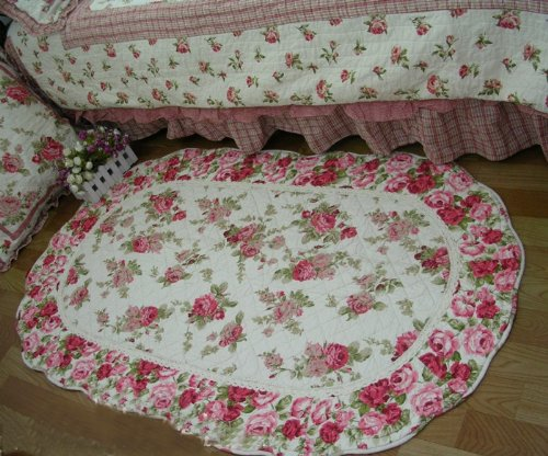 Shabby Chic Style Oval Mary Red wild Roses Quilted throw rug