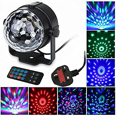 FeelGlad? Mini 3W LED RGB Crystal Magic Ball Effect light Disco DJ Stage Lighting with Sound Activation for Disco, Ballroom, KTV, Bar, Stage, Club, Party With Remote control