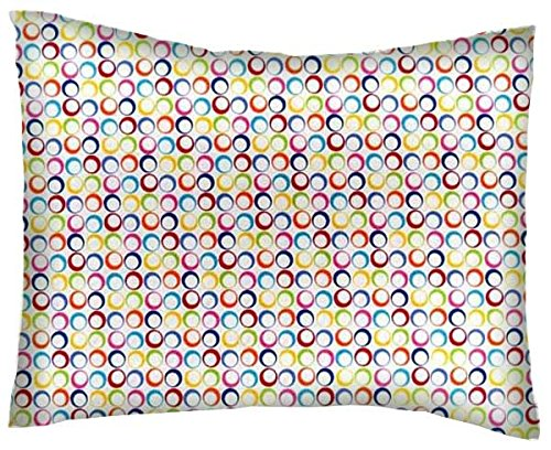 SheetWorld Crib / Toddler Percale Baby Pillow Case - Primary Colorful Rings Woven - Made In USA
