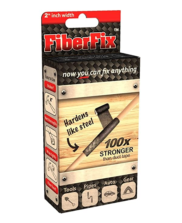 FiberFix 2 Repair Tape Wrap - Fix Anything with Permanent Waterproof Repair Tape 100X Stronger than Duct Tape (Color: Black, Tamaño: 2)
