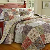 Cottage Patchwork Floral Cotton Bedding Quilted Bedspread Set Oversized Queen