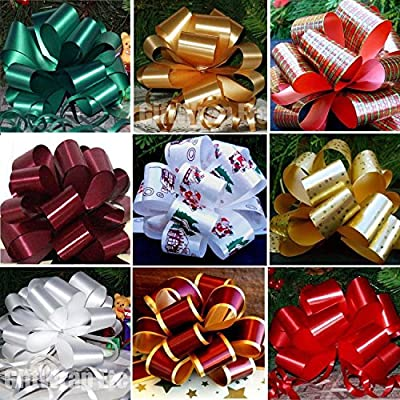 "Christmas Gift Pull Bows - 5"" Wide, Set of 9, Red, Green, Gold, Stripes, Swirls"