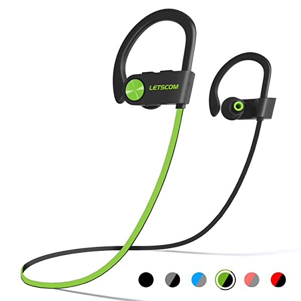 LETSCOM Bluetooth Headphones IPX7 Waterproof, Wireless Sport Earphones Bluetooth 4.1, HiFi Bass Stereo Sweatproof Earbuds w/Mic, Noise Cancelling Headset for Workout, Running, Gym, 8 Hours Play Time (Color: GreenBlack)