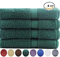 4 Premium Large Bath Towels 100% Cotton, Soft and Absorbent - Hunter Green