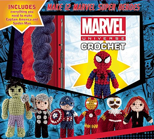 Marvel Universe Crochet - With great yarn come great superheroes! This entertaining kit contains all the materials you need to crochet Spider-Man and Captain America. Colorful photos and step-by-step directions in the 76-page instruction book will also guide you to crafting the most heroic group of amigurumi ever imagined, including Iron Man, Thor, Hulk, Black Widow, Hawkeye, Falcon, She-Hulk, Daredevil, Groot, and Rocket. These cute and cuddly superheroes will help you remember that there's a hero in all of us!