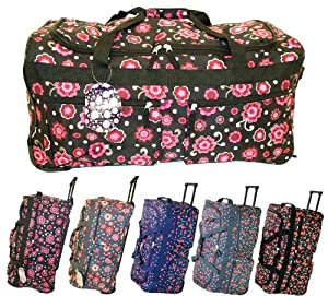 27 70l Large 2 Wheeled Holdall Travel Trolley Weekend Luggage Bag Floral Cherry Design 27 Inch Plain Black