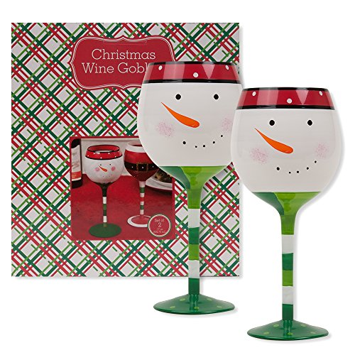 Christmas 16.9 oz Snowman Wine Glasses (Set of 2) (Snowman) (Pier One Imports Wine Glasses compare prices)