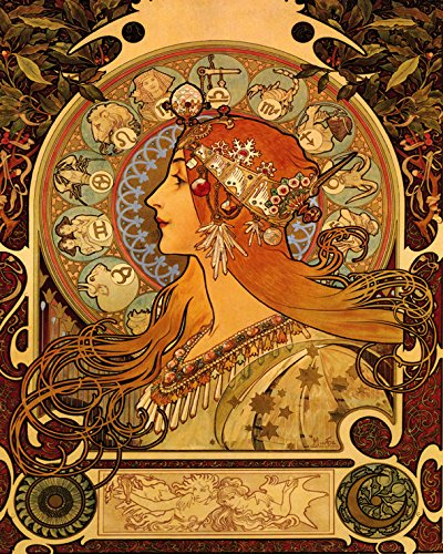 Mucha-Zodiac-16x20-Astrology-Horoscope-by-Artist-Alphonse-Mucha-Vintage-Poster-Repro-Standard-Image-Size-for-Framing-We-Have-Other-Sizes-Available
