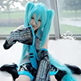 Diforbeauty Long Straight Miku's Day Vocaloid Hatsune Miku Costume Cosplay Wig with Two 50