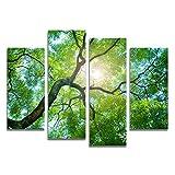 XrsArt キャンバスの壁アート写真家の装飾リビングルームキャンバス近代絵画を印刷絵画4パネルグリーンツリー(額縁なし)FCa36 48 インチ x28 インチ