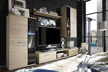 Moderno mueble de salón BINGO - conjunto & aparador (Juego de muebles BINGO roble mate, Led 16 colores con mando a distancia)