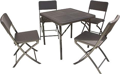 Gartenmöbel Tisch mit 4 Stuhlen, Kunststoff, wetterbeständig, klappbar