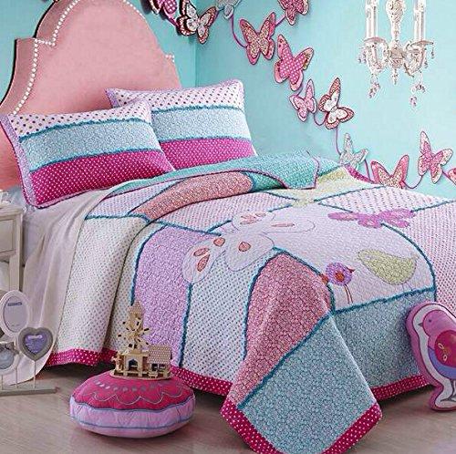 brandream kids birds butterfly bedding set girls bed quilt set twin size c. Black Bedroom Furniture Sets. Home Design Ideas