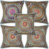 Home Decor Mirror Work Embroidery Cotton Cushion Cover 16 Inches Set 5 Pcs