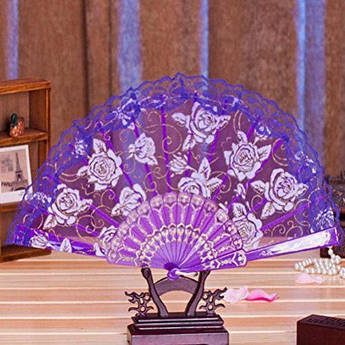 Binmer(TM) Multi-color Dance Party Wedding Lace Flower Folding Hand Held Flower Fan Chinese Fans (Purple)