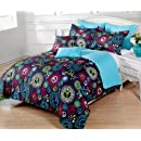 5 Pieces Multi Colored Peace Sign Black Comforter Set Twin Twin Xl Size Bedding
