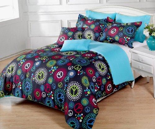 Peace Sign Bedroom Accessories: 5 Pieces Multi-Colored Peace Sign Black Comforter Set Twin