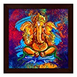 #6: Story@Home Artistically Designed  'Ganesha' Framed Wall Art Painting (Wood, 30 cm x 3 cm x 30 cm)