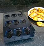 Moule � 9 Madeleines - Noir. Silicone...