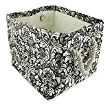 "DII Home Essentials Woven Paper Weave, Collapsible, Convenient Storage Bin For Office, Bedroom, Closet, Toys, Laundry - Large (17"" Long x 12"" Wide x 12.5"" High) in Black Damask Print"