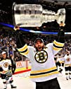 Patrice Bergeron  holding the 2011 Stanley Cup Trophy  NHL