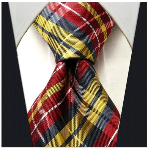 Scott Allan Mens Plaid Necktie - Red and Yellow (Scott Allan Red Ties compare prices)