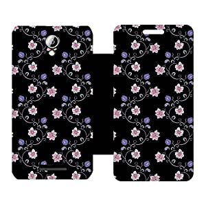 Skintice Designer Flip Cover with Vinyl wrap-around for Lenovo A5000, Design - Flower
