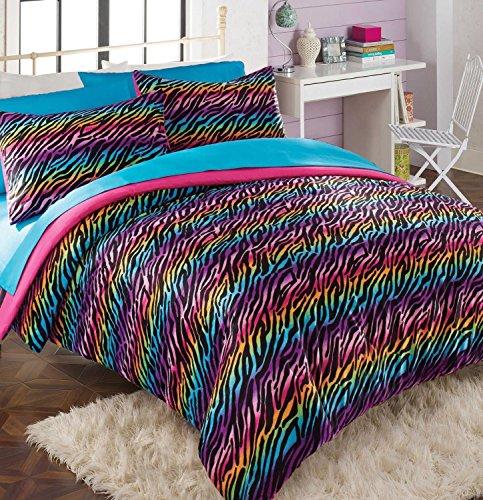 Teen Girl Comforter Sets Rainbow Zebra Bedding With Shams