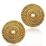 Adiva Gold Copper Stud Earrings For Women