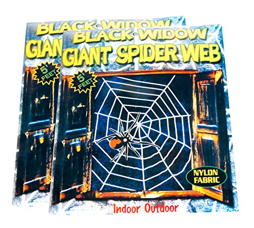 5 ft Spider Web Decorations with Black Widow Spider Included to Spook the Dickens Out of Trick or Treaters Multi-Pack of (Spider Web Decorations)