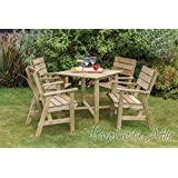 Solid Wood Outdoor Furniture Garden Dining Set - 1 Table and 4 Chairs - 10 Year warranty against rot