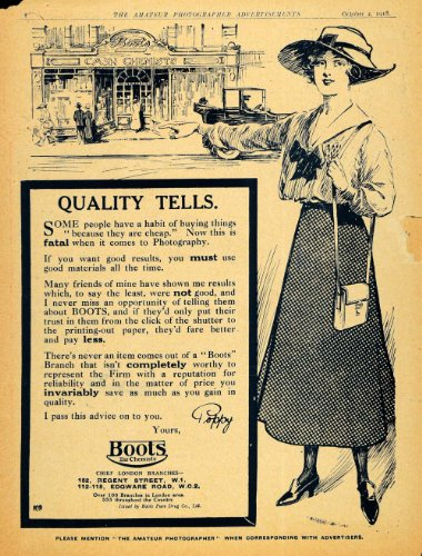 1918 Ad Boots Cash Chemists Store Sketch London Camera Film Photography Poppy - Original Print Ad