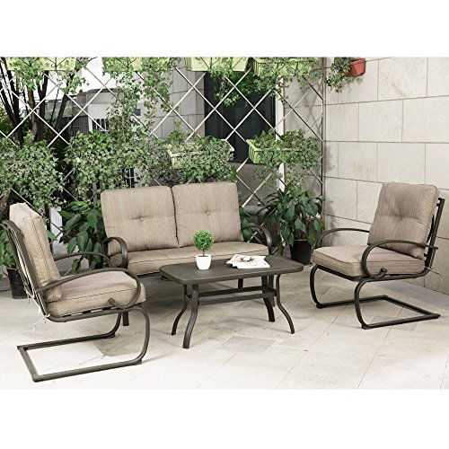 Cloud Mountain 4 Piece Cushioned Outdoor Furniture Garden Patio Conversation Set, Wrought Iron Coffee Table Loveseat Sofa 2 Chairs (Patio Conversation Set 2, Gradient Brown)
