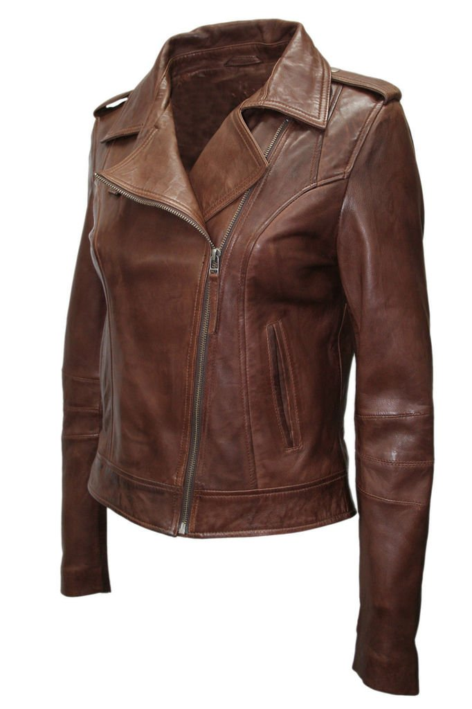 Ladies Retro Brando Chestnut Brown Biker Casual Soft Nappa Leather Jacket 1