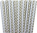 Gold and Silver Damask Paper Straws - Birthday Party Supply Wedding, Bridal Shower 100%Biodegradable 7.75 Inches Pack of 100
