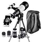 Telescope for Kids and Beginners Travel Scope 70mm Apeture 400mm AZ Mount - with Backpack to Carry Easily - Travel Telescope to View Moon and Planet (Color: 70400)