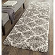 "Safavieh Hudson Shag Collection SGH282B Grey and Ivory Moroccan Geometric Quatrefoil Runner (23"" x 8)"