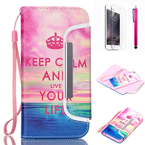 "iPhone 6 Case, JCmax Flip Premium Detachable PU Leather Case Bulit in Card Slots, Cash Compartment and Detachable Wrist Strap For Apple iPhone 6 (4.7"") [Keep Calm]"