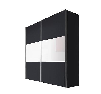 Solutions 46890-971 Schwebeturenschrank 2-turig, Griffleisten Alufarben, Korpus/Front: Graphit / Weißglas