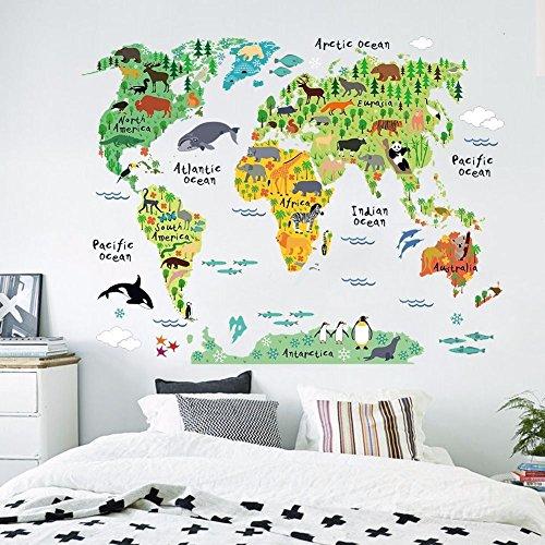 Zooarts-Sticker-mural-en-vinyle-pour-chambre-denfant-Motif-carte-du-monde-et-animaux