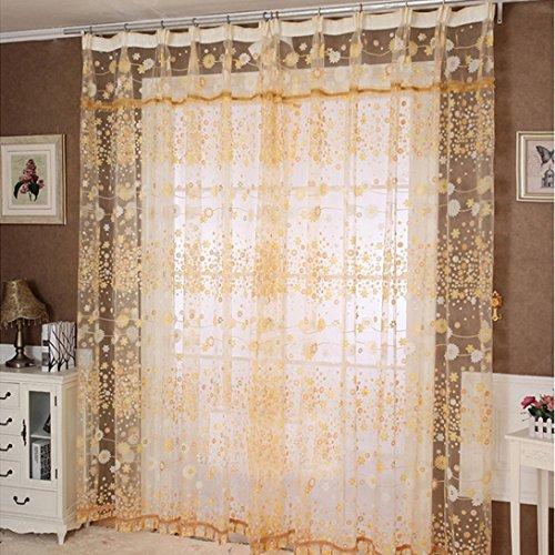 WensLTD Fantasy Print Pastorale Sunflower Floral Sheer Window Curtains