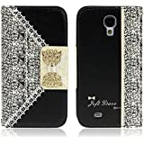 Culater® Black Cute Flip Wallet Leather Case Cover for Smart Mobile Phones (Samsung Galaxy S4 i9500)
