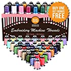 Embroidery Polyester Thread Complete Bundle - 63 Variety Spools - Beautiful Colors Match Brother Machines + Free Bonuses (550yard)