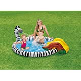 "Zebra Sprinkler & Slide Childrens Play Center Inflatable Swimming Pool 77"" X 65"" X 26"""