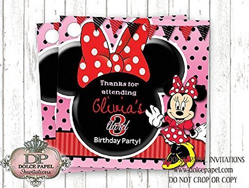 10 Red Black and Pink Minnie Mouse Ears Custom Birthday Party Favor Tags (Minnie Mouse Custom Invitations compare prices)