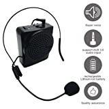 Portable Voice Amplifier, soled Loud Speaker Microphone, Rechargeable Voice Amplifier for Teachers, Coaches, Tour Guides, Presentations, Salesman, with Comfortable Headset and Waistband Black